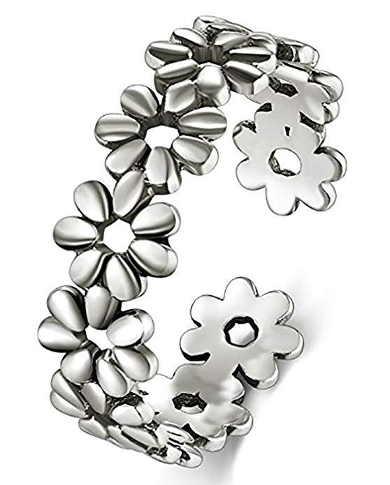 Anillo de plata esterlina 925, boRuo Daisy flor hawaiana ajustable banda anillo