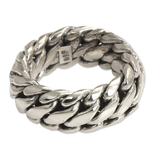 Anillo de plata de ley 925 con cadena trenzada