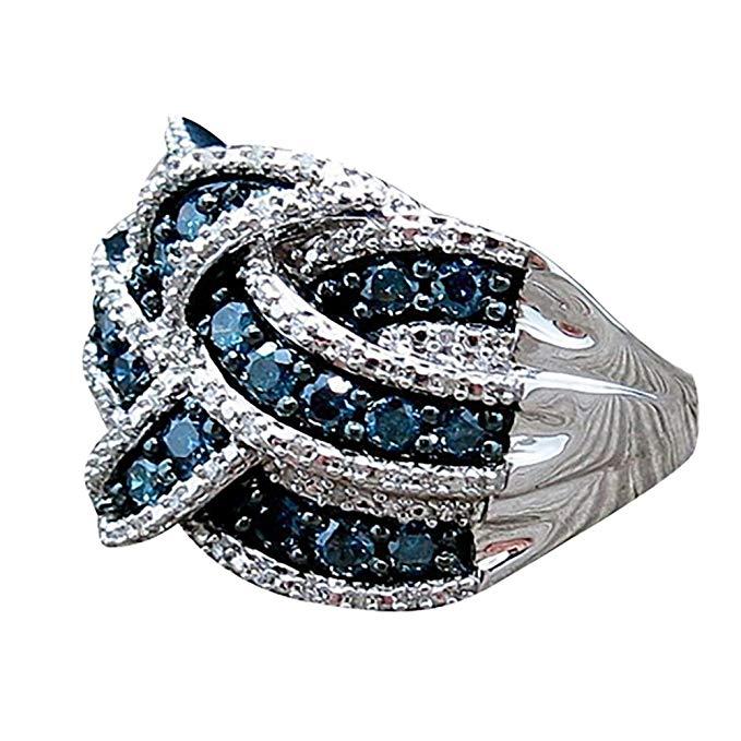 Anillo de plata de ley 925 con zafiro azul para mujer