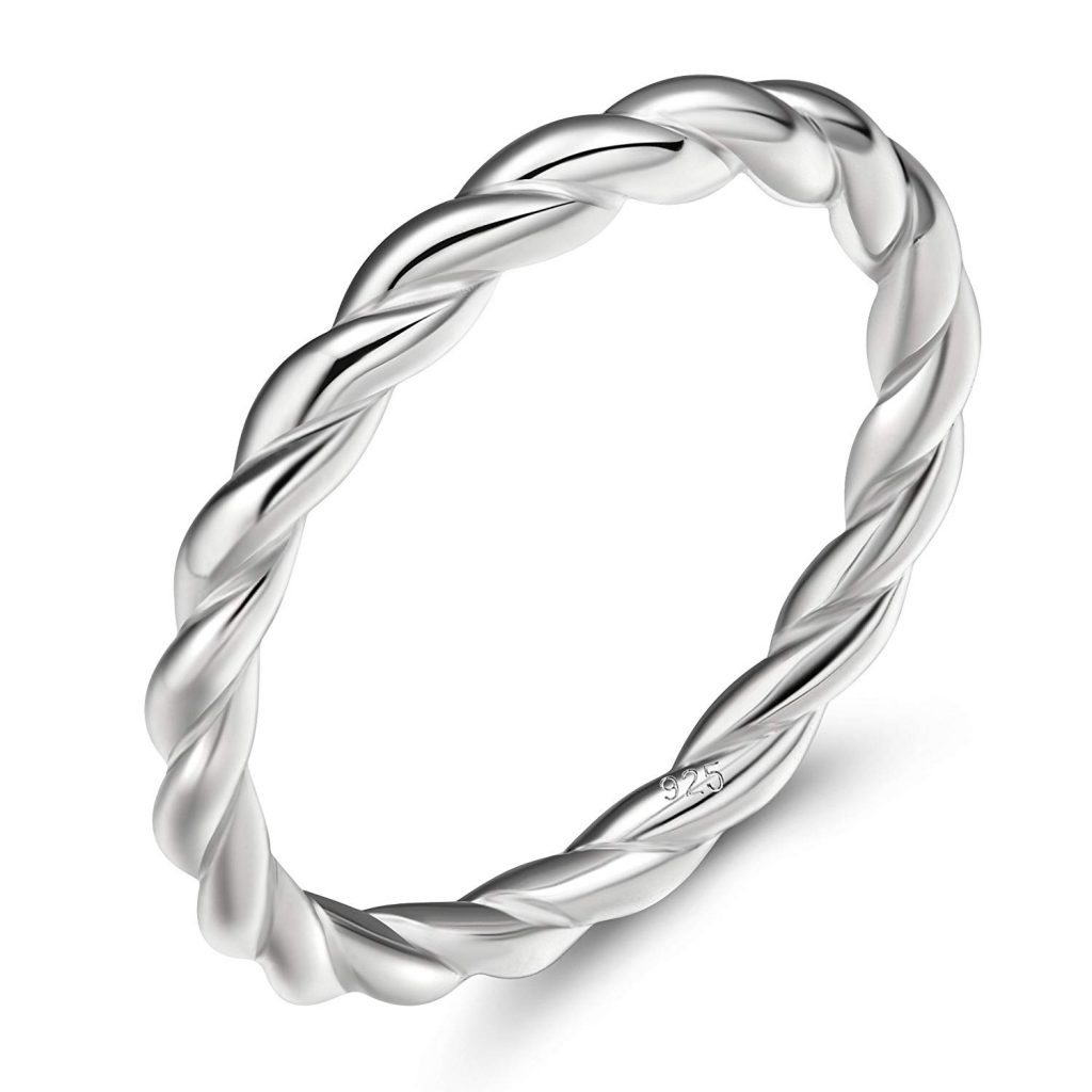 Anillo de boda para mujer, plata de ley 925