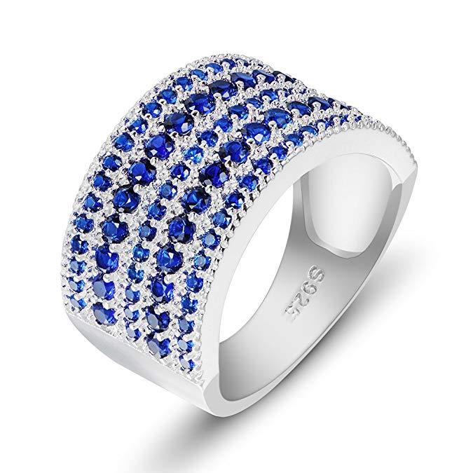 Anillo de plata de ley 925 con diamantes de imitación de circonita cúbica azul