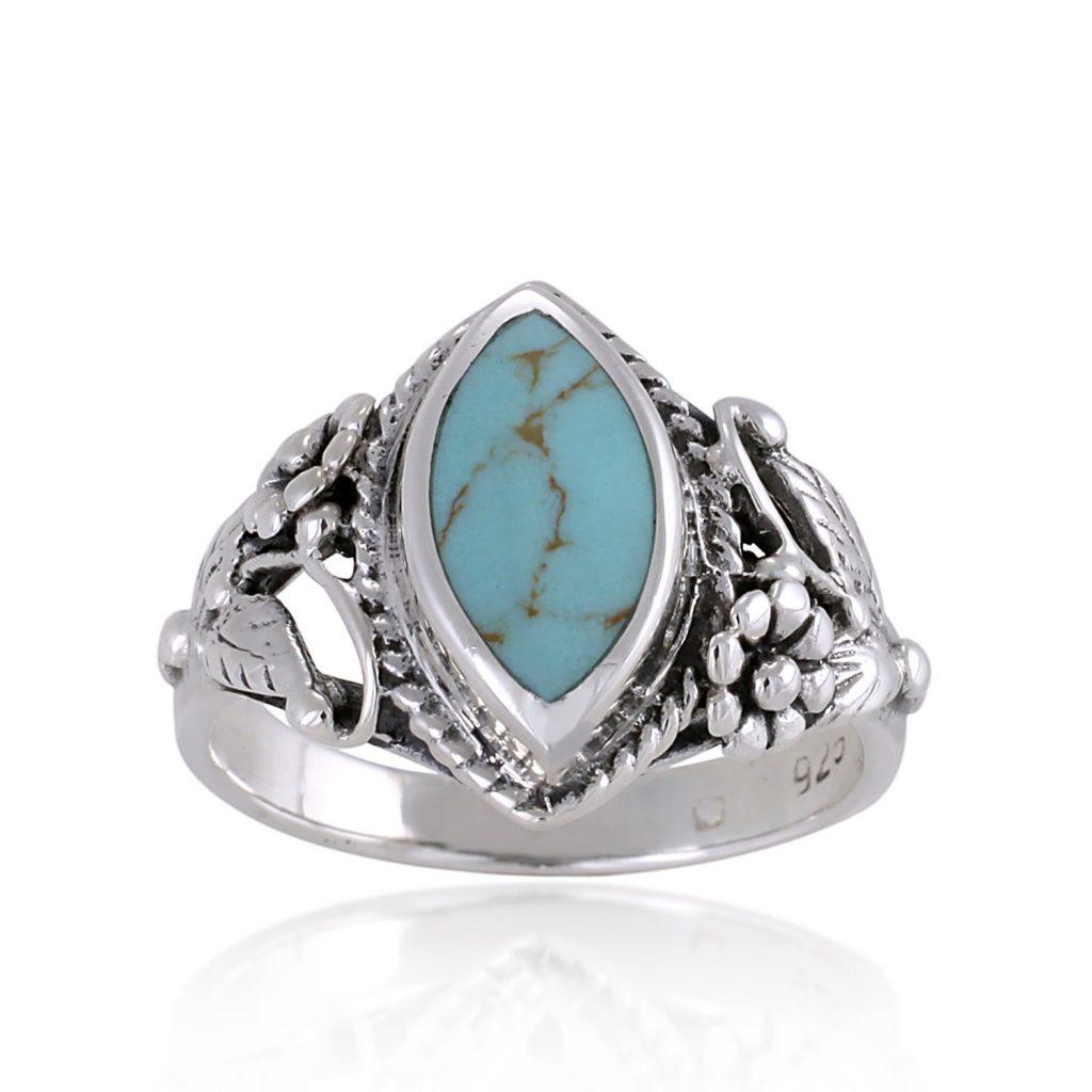 Anillo de plata de ley 925 con piedra turquesa azul
