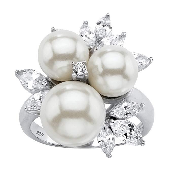 Anillo redondo de plata de ley 925 con perlas blancas