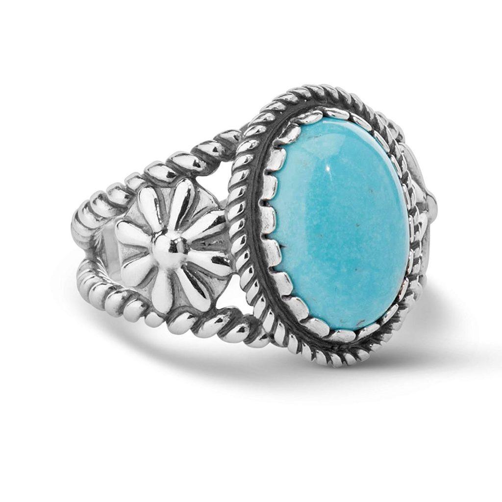 Anillo de plata de ley Sz 5 Thru 10 gemas color turquesa