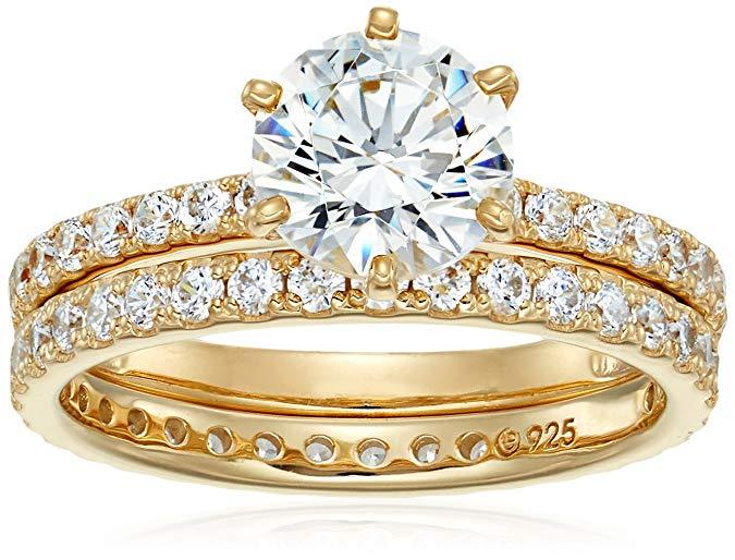 Juego de anillos redondos de plata de ley chapados en oro o platino