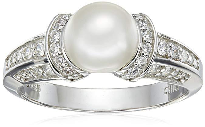 Chapado en platino anillo de perla cultivada de ley