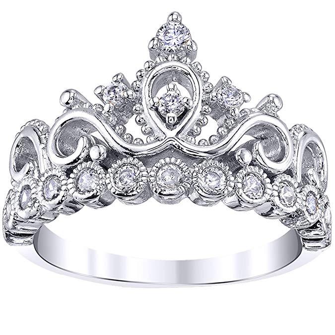 Guliette Verona Princesa de plata esterlina anillo de corona original