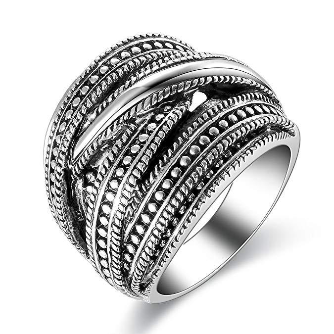 Anillo de plata de ley vintage punk grueso con anillos