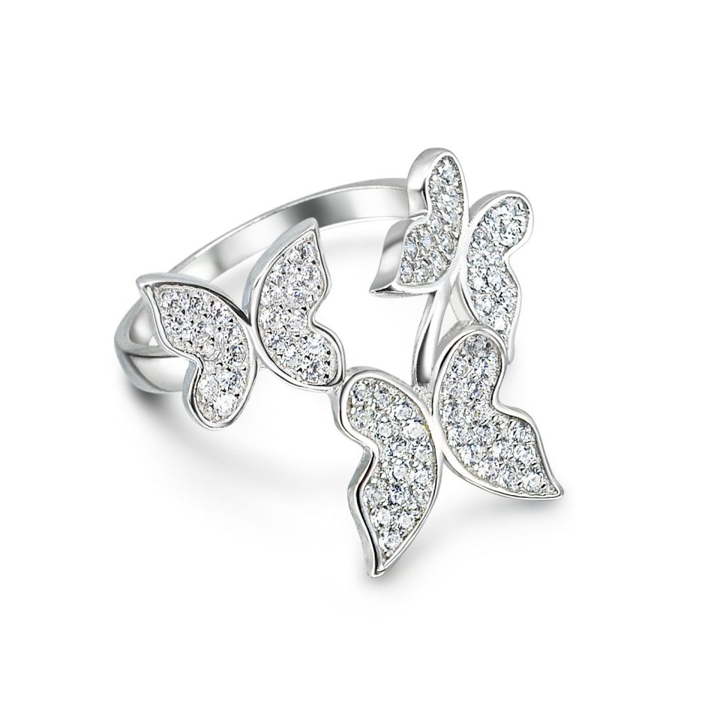 Plata esterlina CZ mariposa declaración anillo