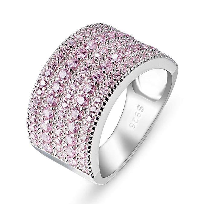 Anillo de plata de ley 925 con diamantes de imitación rosada