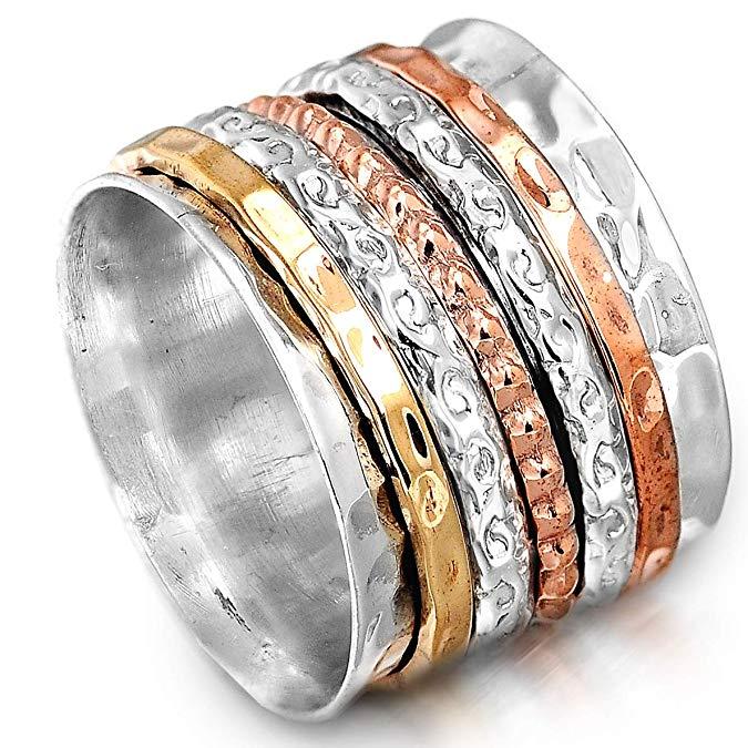 Anillo de plata de ley 925 para mujer con bandas giratorias de cobre