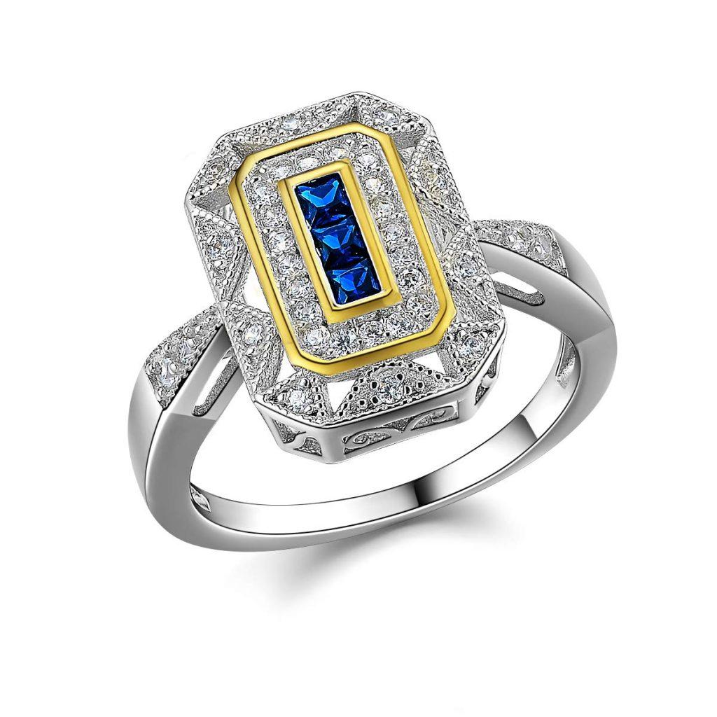 Anillo de plata de ley 925, diseño vintage de princesa, zafiro azul