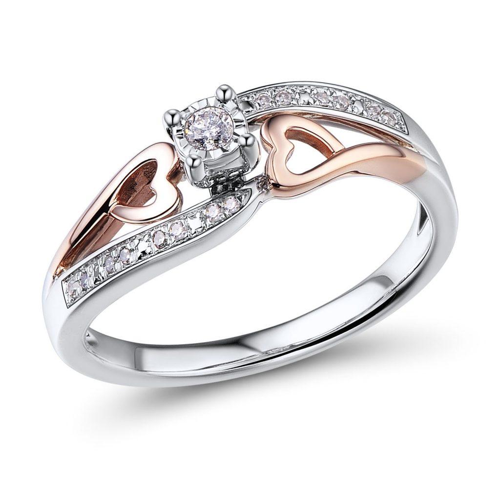Anillo de promesa de diamante en oro rosa de 10 K y plata de ley 1/10 ct.