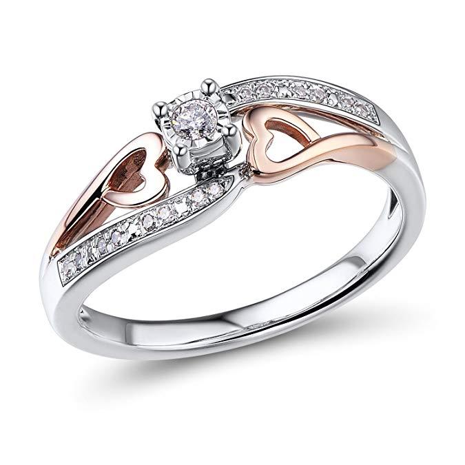 Anillo de promesa de diamante en oro rosa de 10 K y plata de ley