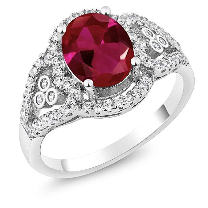 2.40 ct óvalo rojo rubí anillo de plata de ley 925