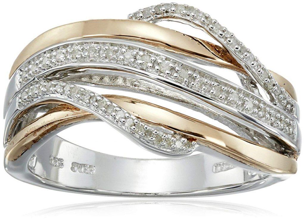 Sterling Plata Diamante Crossover Anillo de moda