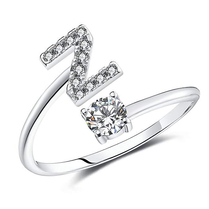 Set de regalo de anillo Faurora para mujer con iniciales de la A a la Z