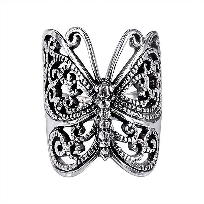 Anillo de plata de ley 925 con mariposa victoriana