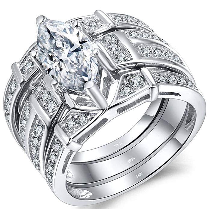 Anillo de boda de plata de ley con circonita cúbica