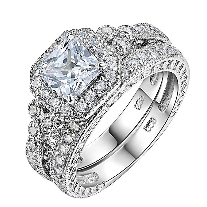 conjunto de anillos de compromiso de plata de ley 925