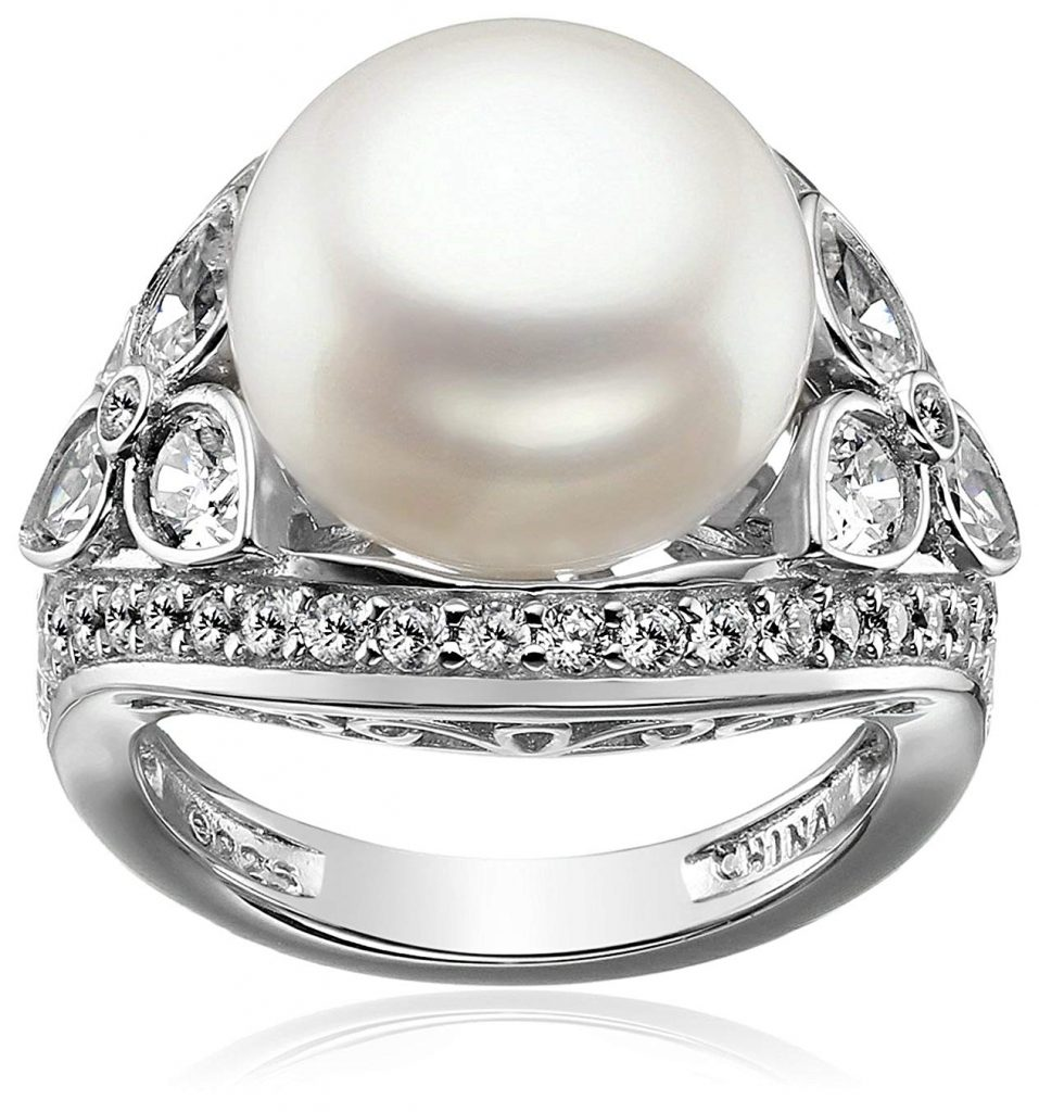 platinum-plated Sterling Pearl Cóctel Anillo