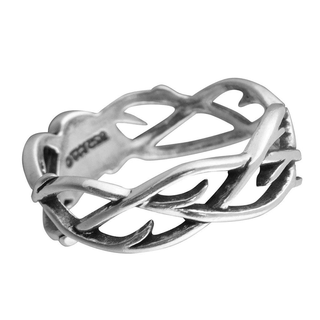Plata de Ley banda anillo corona de espinas, tamaños 7 – 13 unisex