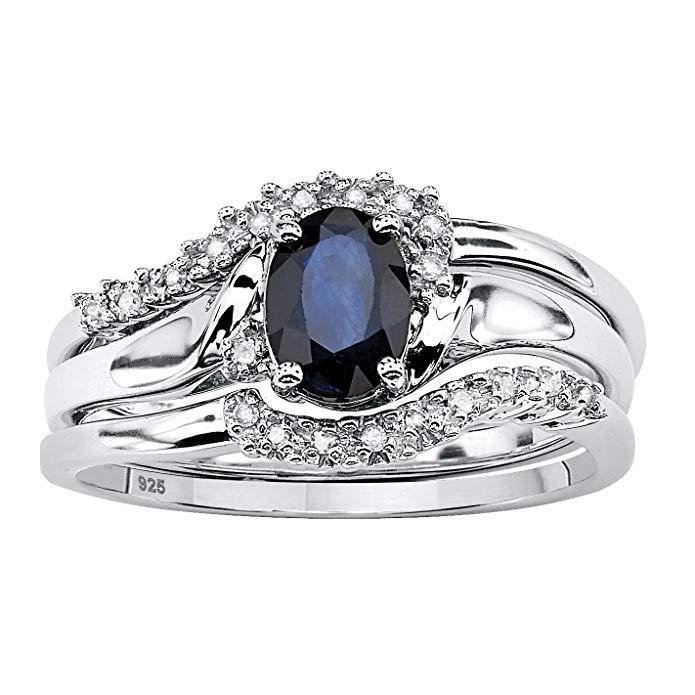 Zafiro azul genuino y adorno de diamante platino sobre .925