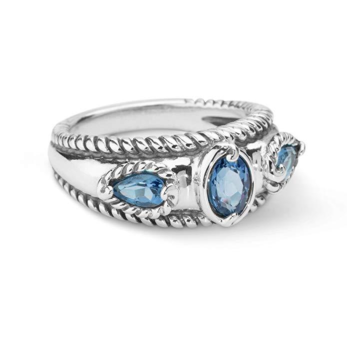 Anillo de plata de ley 925 SZ 5 Thru 10 con tres piedras preciosas azul