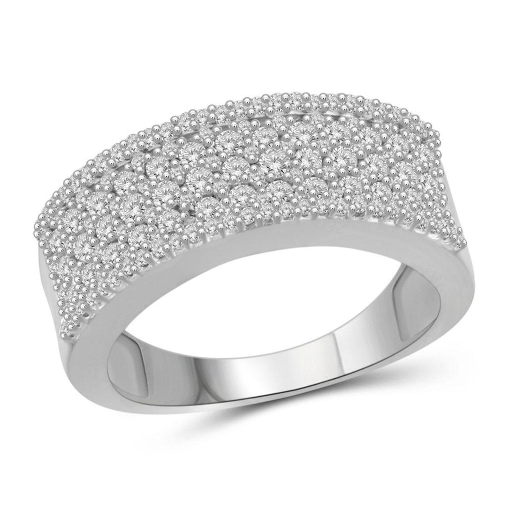 diamante blanco anillo de banda de plata de ley de 1,00 quilates