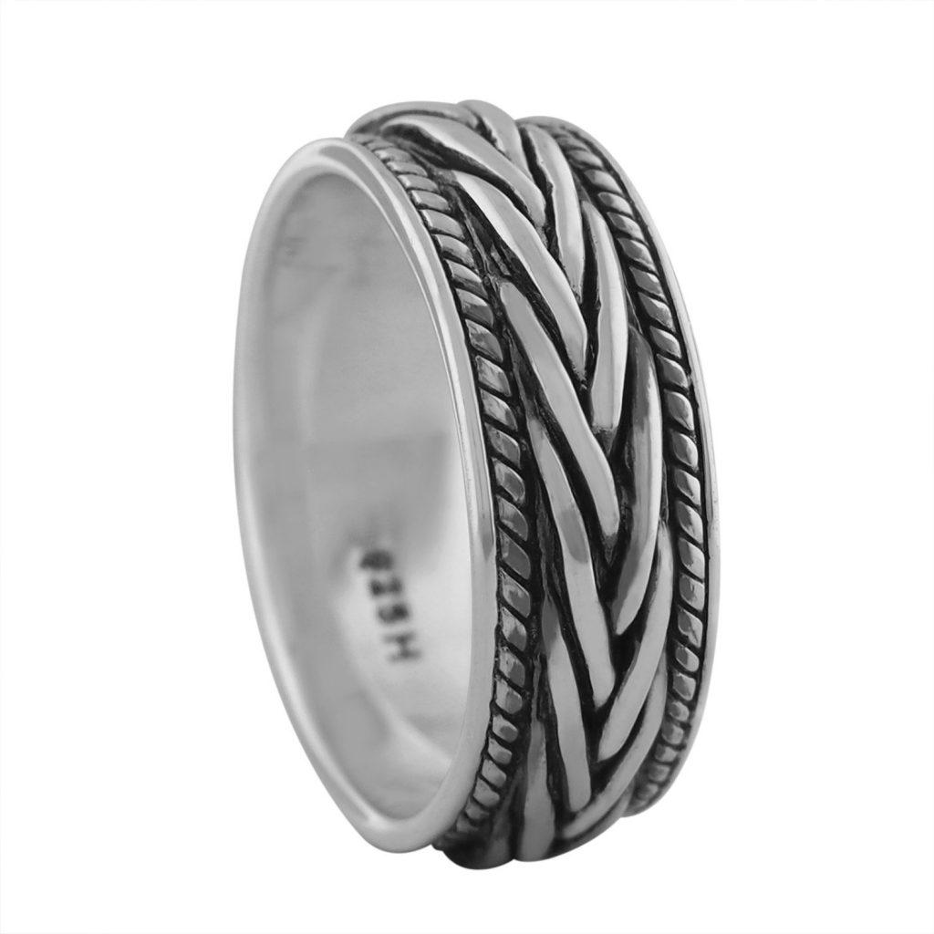 Trenzado de plata de ley anillo de boda