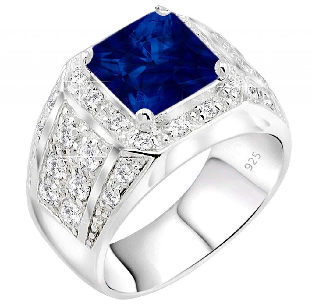 Anillo de plata esterlina .925 para hombre azul