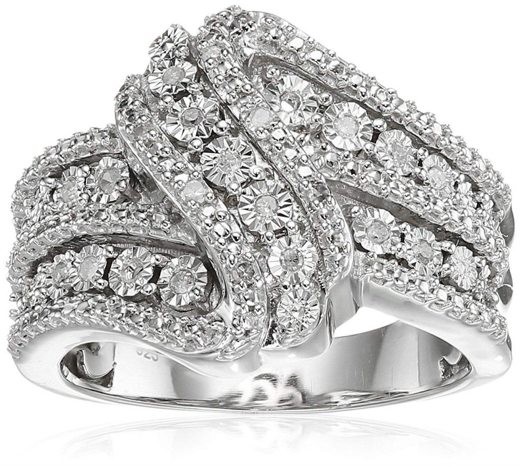 Classic Twist con diamante blanco anillo de plata de ley