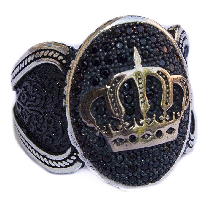 Plata de ley Hombres Anillo, hecha a mano, corona de un rey, Express shi̇ppi̇ng