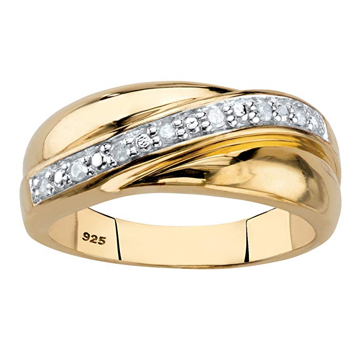 Pasa el mouse encima de la imagen para aplicar zoom Palm Beach Jewelry Anillo de boda de oro de 18 quilates sobre plata de ley de 1/10