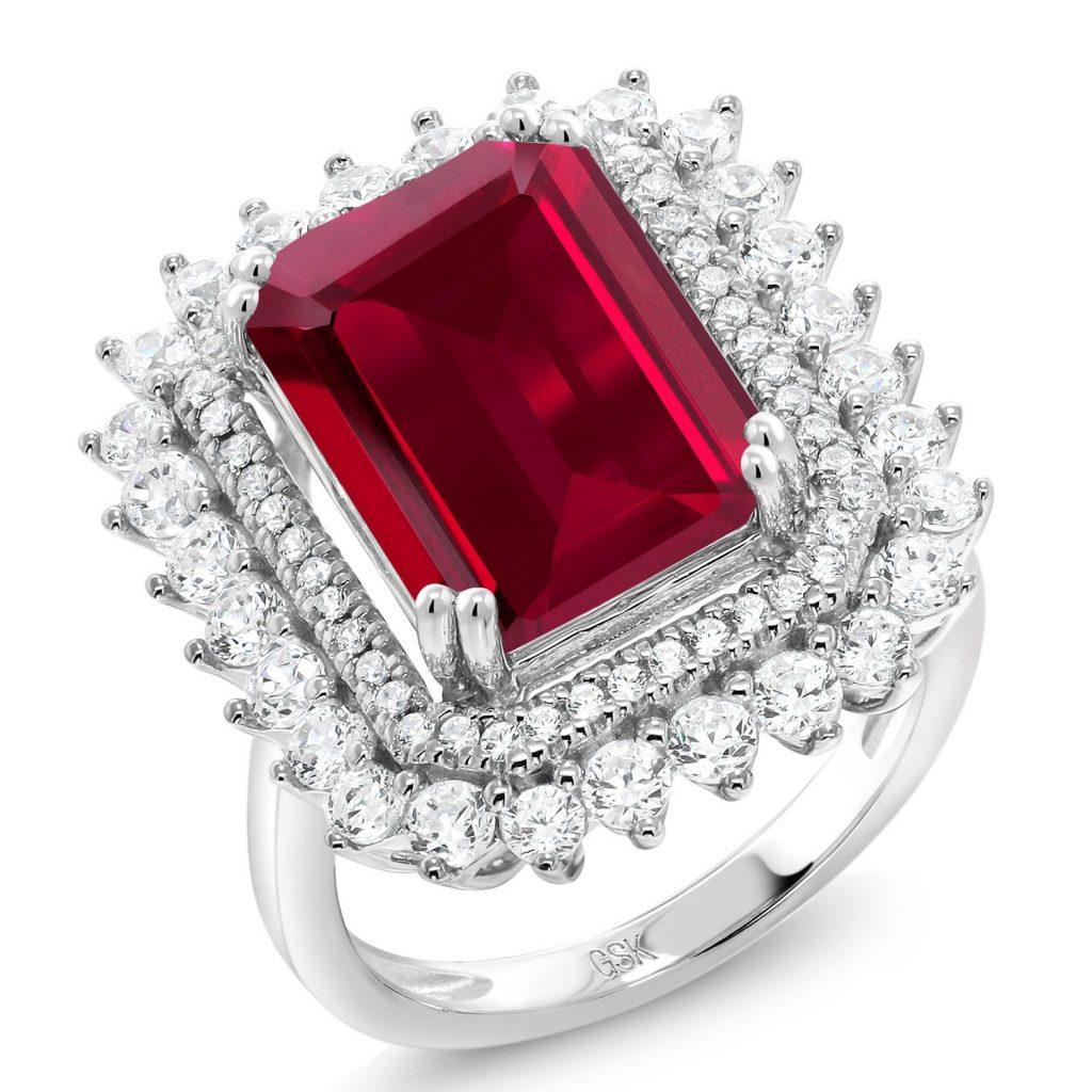 Anillo de piedras preciosas creado con piedras preciosas rojas de plata esterlina 925