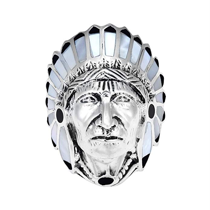 Anillo de plata de ley 925. Acabado con estilo de nativo americano