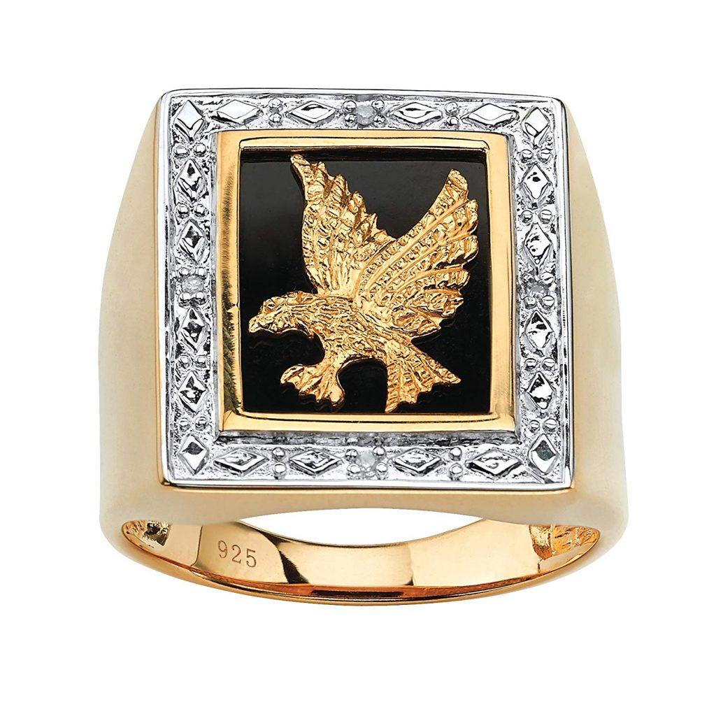 Anillo de oro amarillo de 14 quilates sobre plata de ley con diamante
