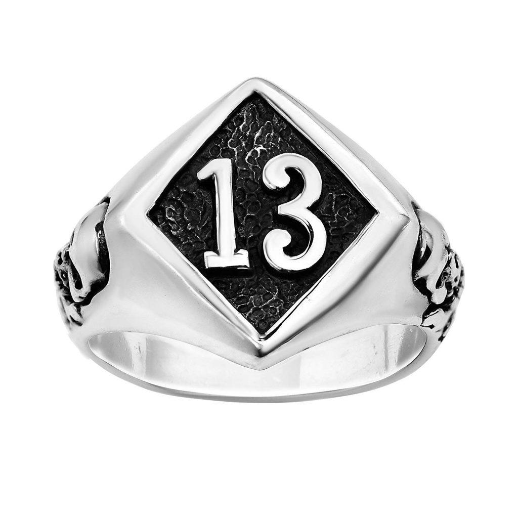 Número 13 de la suerte redondo Calavera 925 anillo de plata de ley