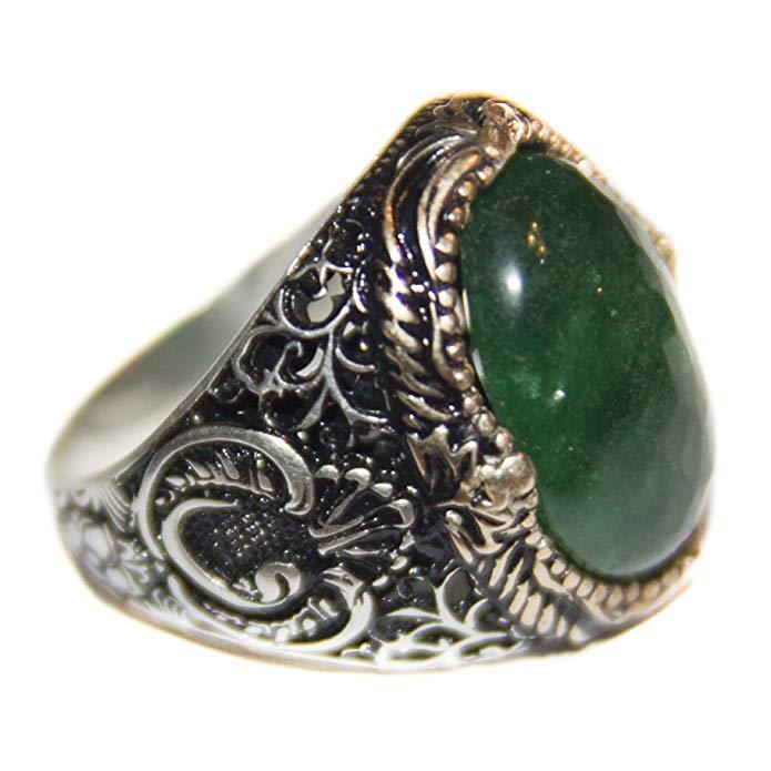 Pasa el mouse encima de la imagen para aplicar zoom Falcon Jewelry Anillo de plata de ley, piedra esmeralda naturales, hecho a mano