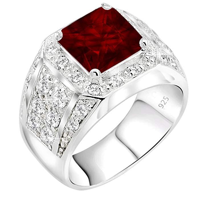 Anillo para hombre de plata de ley 925 con un rubí rojo