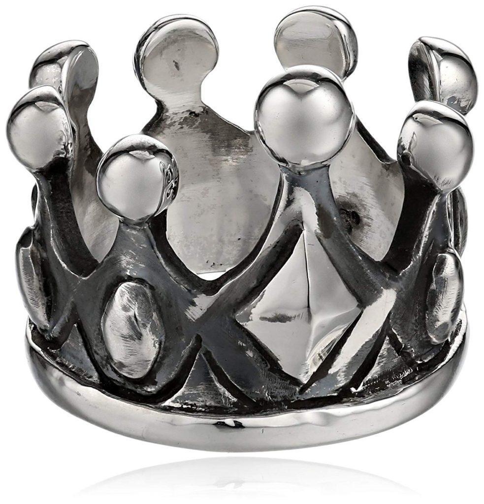 King Baby Plata de ley corona ring, tamaño 7