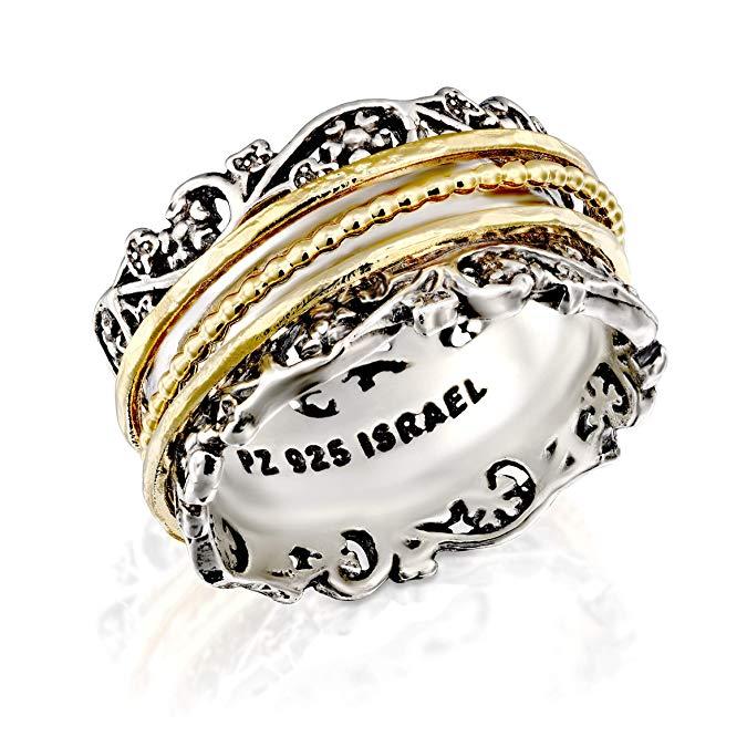 Anillo de plata de ley 925 con dorado sobre plata