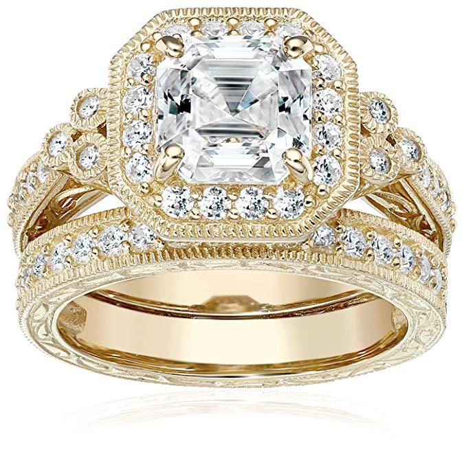 Conjunto de dos anillos de corte Asscher con forma de corazón con cristales