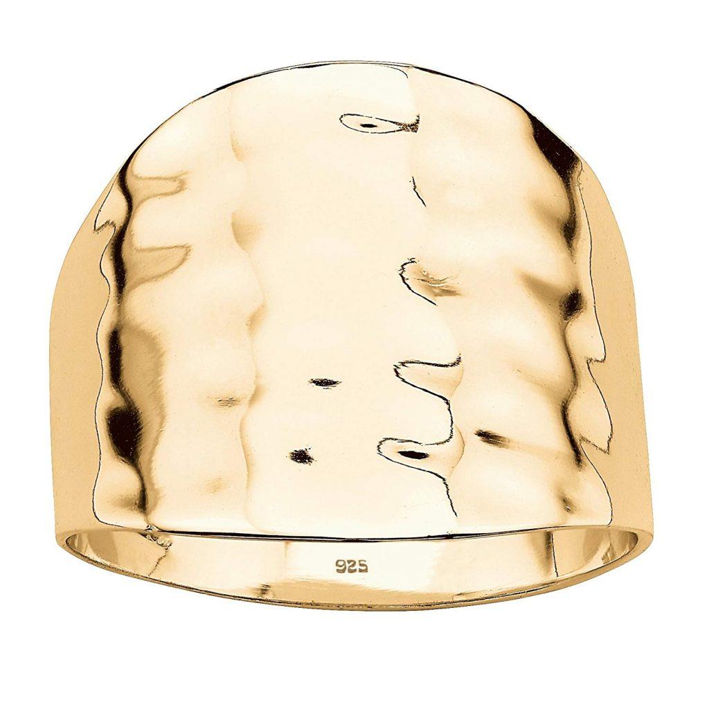 Anillo de oro amarillo de 14 K sobre plata de ley martillado