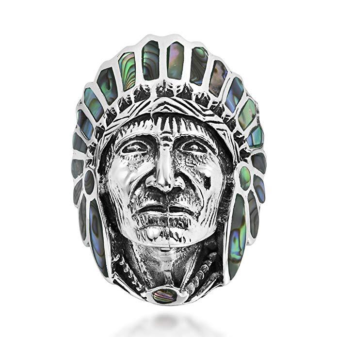 AeraVida Abalone Shell Native American Style .925 Anillo de plata esterlina