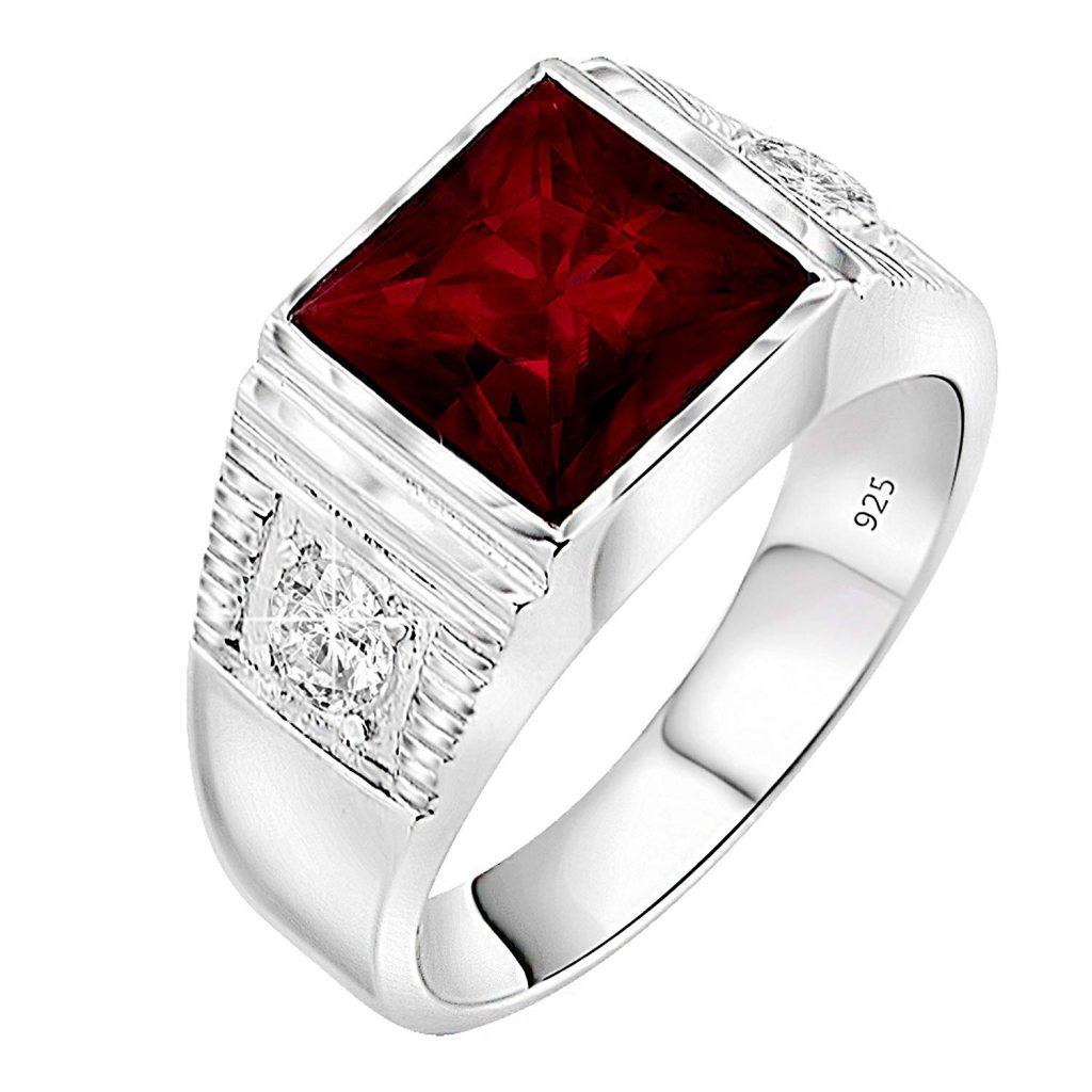 Anillo de plata de ley 925 para hombre con piedra central cuadrada roja