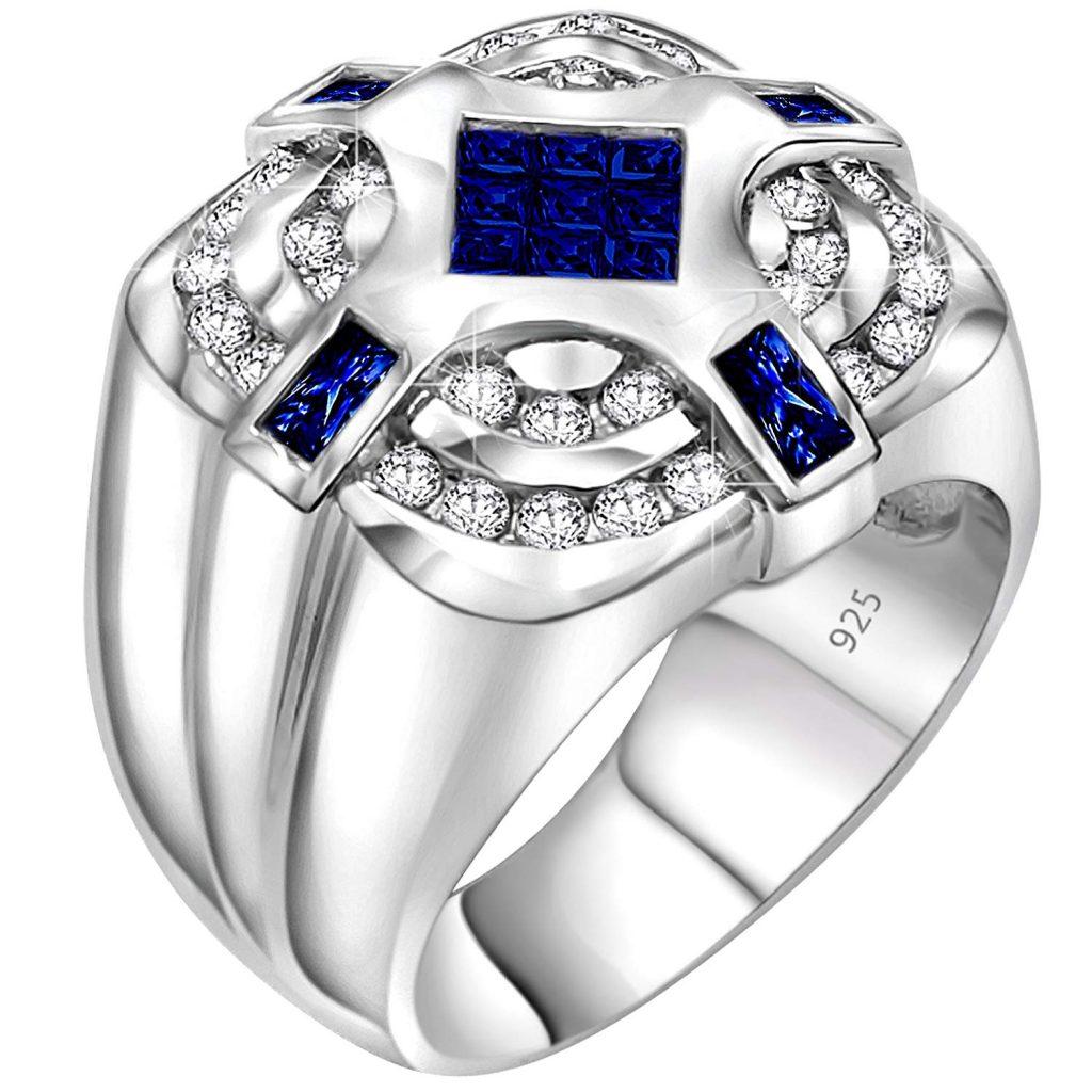 Anillo de plata de ley 925 para hombre con centro invisible de circonita cúbica azul oscuro