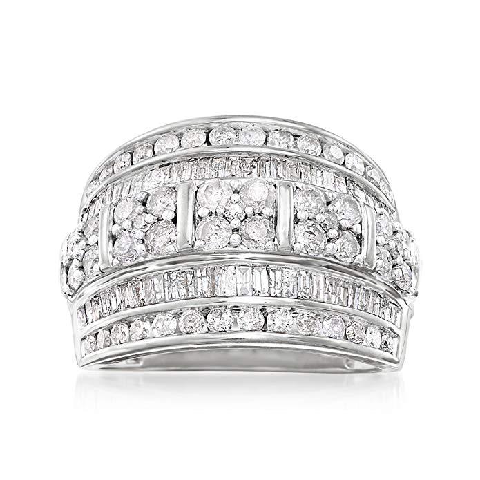 Ross-Simons 2.00 ct. t.w. Anillo de plata de ley con múltiples filas de diamante redondo