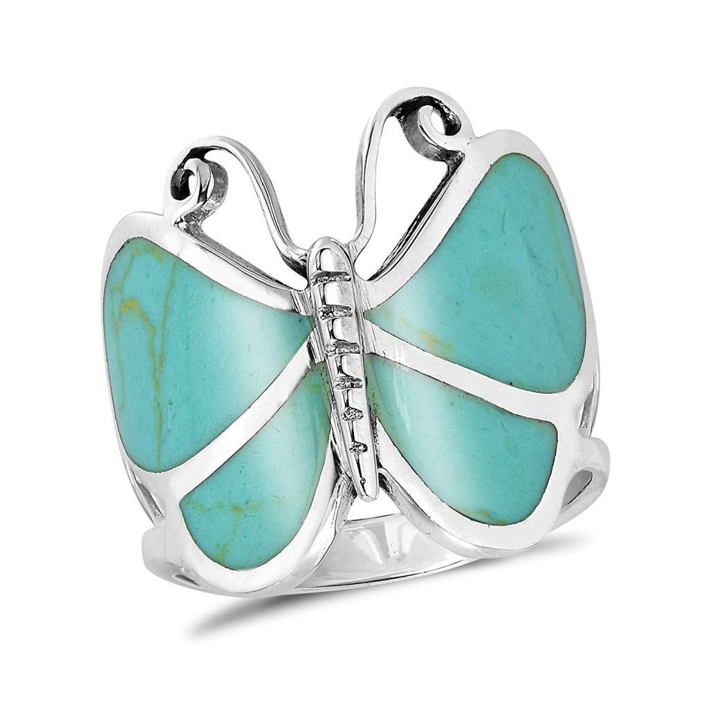 Big simulada mariposa, color turquesa plata de ley 925 anillo