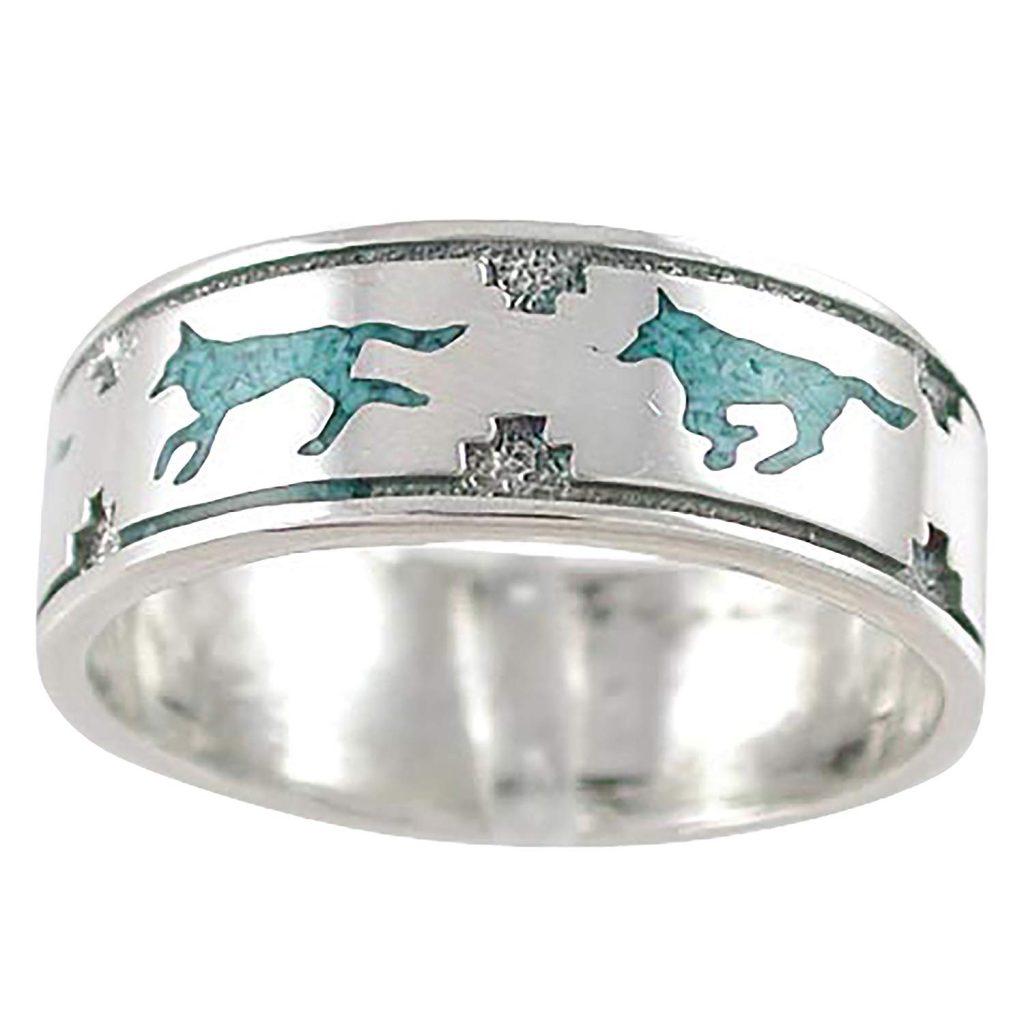 anillo en plata de ley con estabilizado color Turquesa para hombres